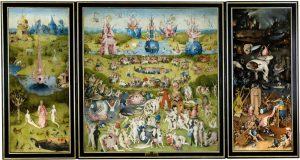 """Hieronymus Bosch, """"Lustarnas trädgård"""", ca 1490-1510, Prado-museet Madrid"""